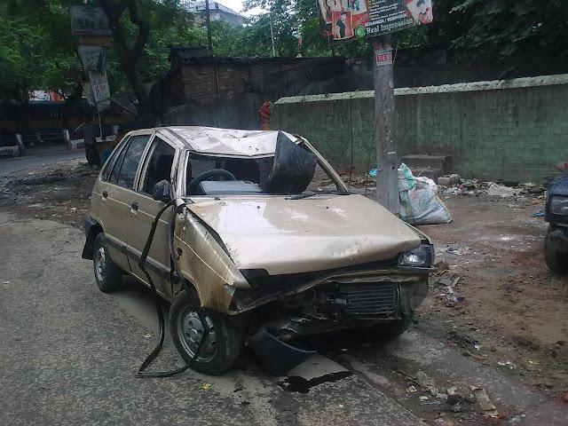 Maruti 800 after accident