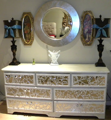 Broken Mirror Dresser Tutorial Tiling