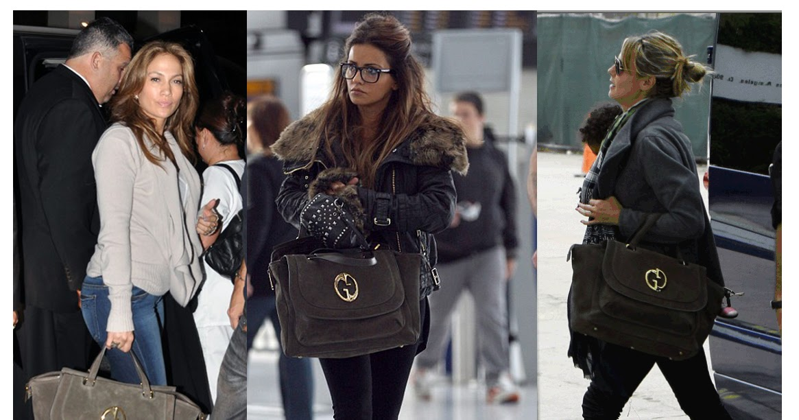 59820ad14e7fdd Gucci '1973' brown suede top handle tote is a hit with the celeb circuit