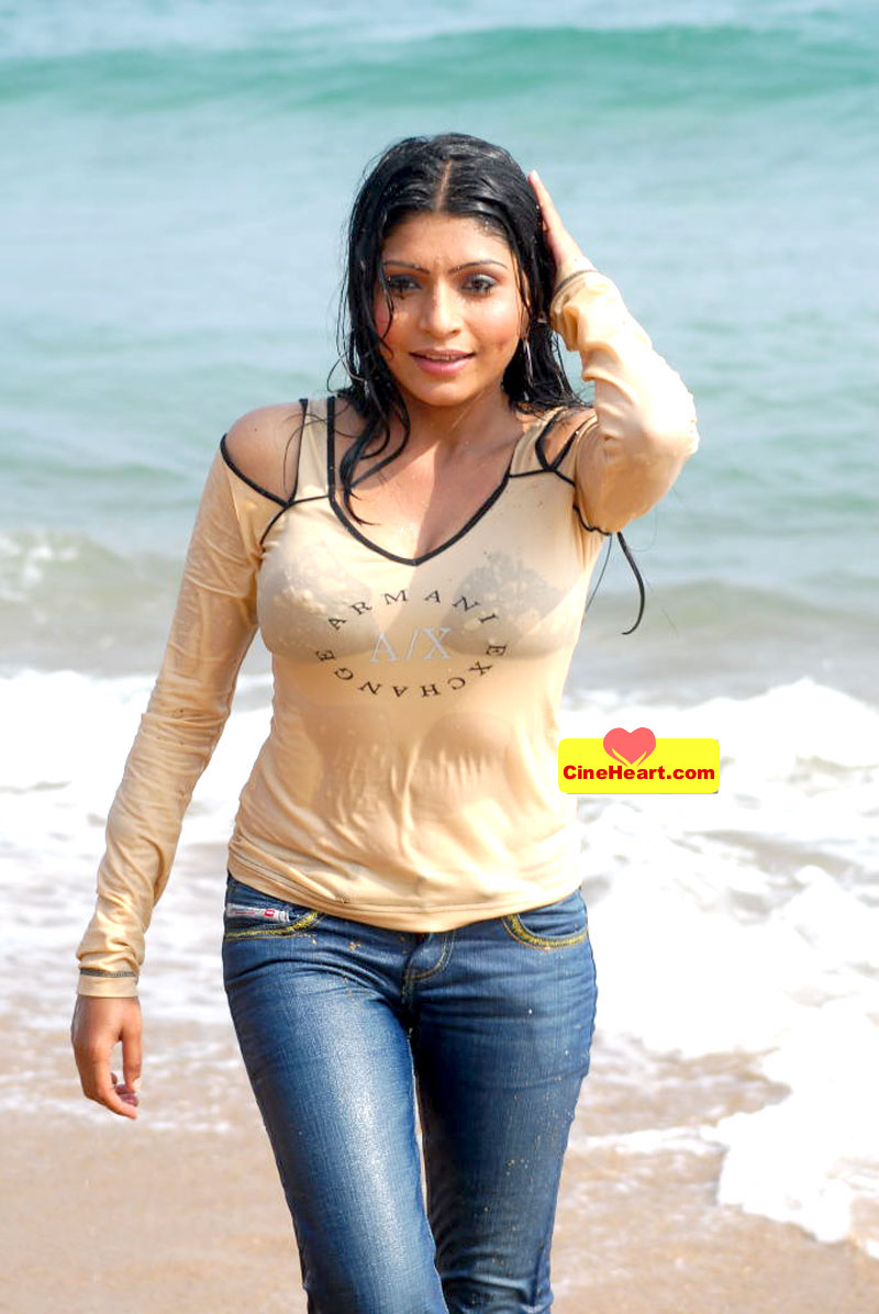 Pooja- New Indian Model Wet In Beach  Hot Indian Girls-4274
