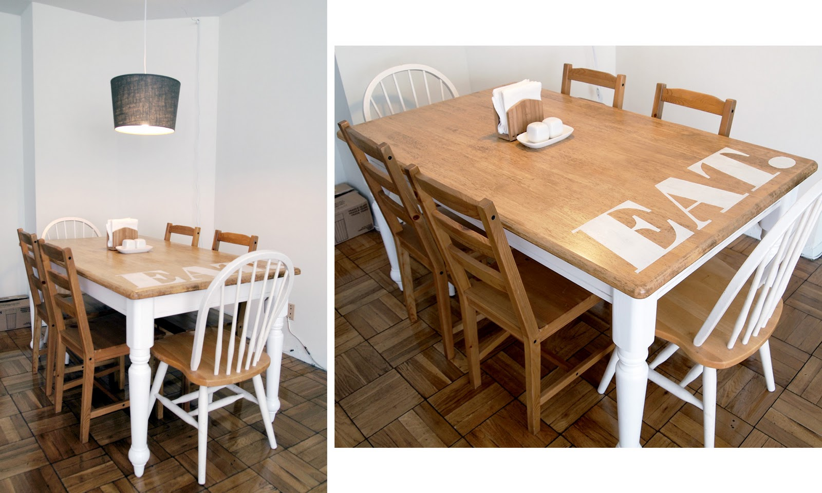 Upcycled Dining Room Chairs Contemporary Leather White Resurfaced Table  Jamie Bartlett Design