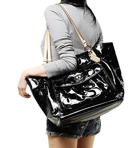Coach Embossed Patent Leather Leah Bag F 14662