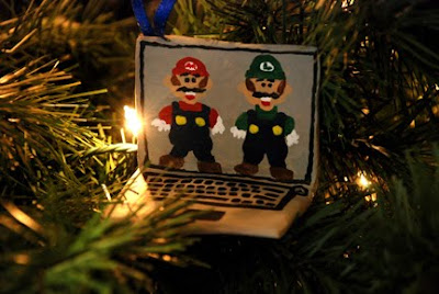 Mario Luigi DS Christmas ornament paper mache