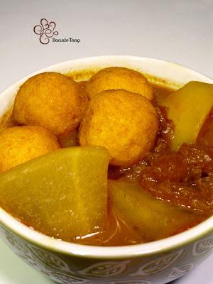 Bon's Kitchen: [勁辣]咖哩魚蛋豬皮蘿白 Curry Fish Ball with Turnips and Pork Skin - Extra Hot