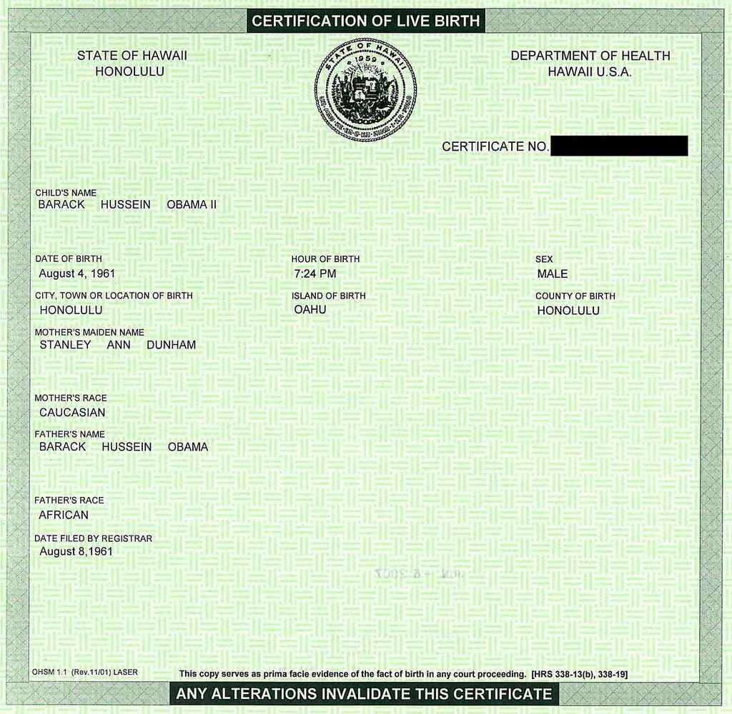 certificate birth obama hawaii barack simple death state document office form humanity planet earth solutions