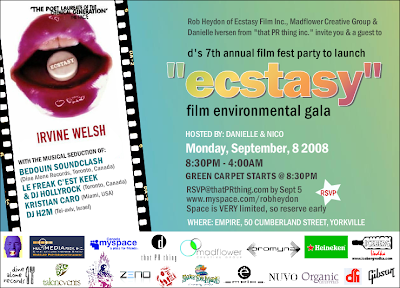 """Ecstacy"" Film Launch Party during Toronto International Film Festival week"