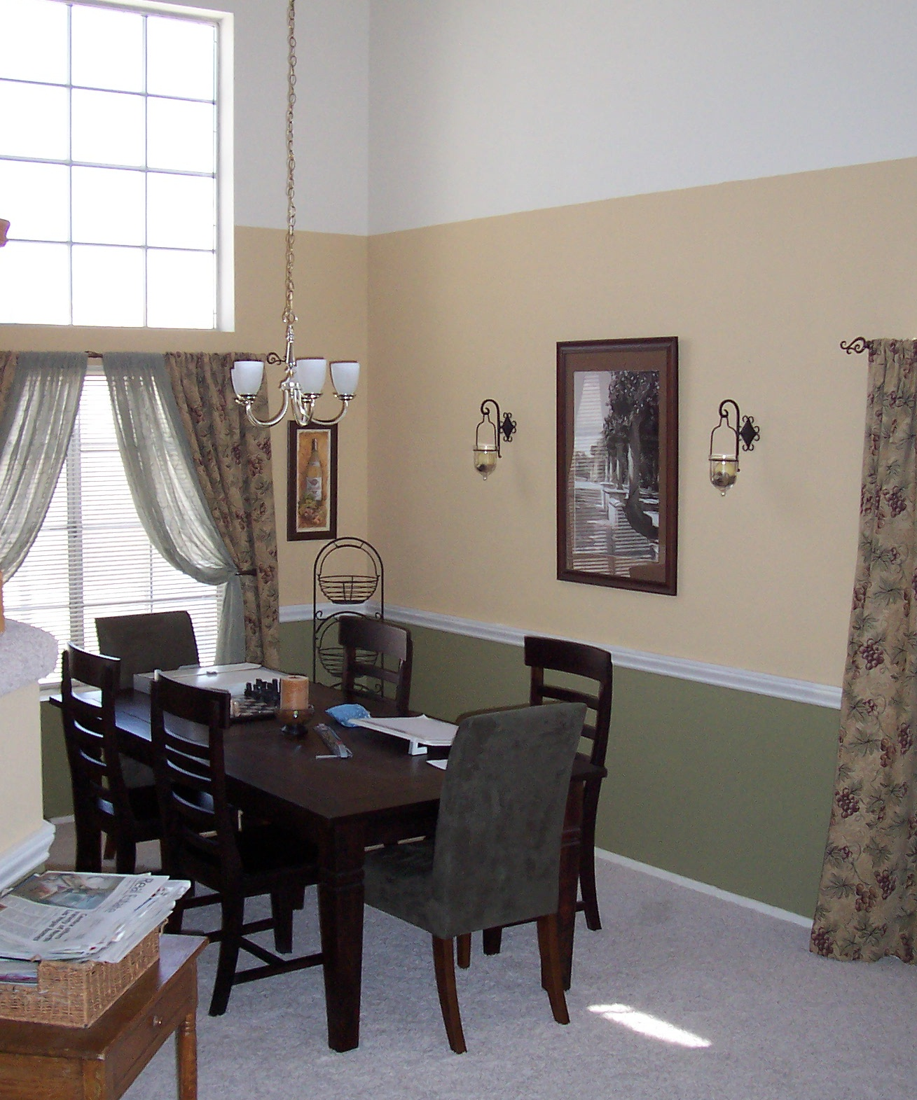 Dining Room Paint Ideas With Chair Rail: Eclectic Designs By Erin: Add Chair Rail To Break Up Tall