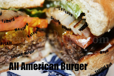 The good ole classic All American Burger to me means a good ground chuck beef burger, pickles, tomato, grilled onion, mayo, mustard and ketchup on a toasted bun & topped with bacon and cheese, if you like.