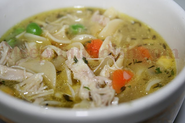 Homey and healing chicken noodle soup, made with a homemade stock from a whole chicken and fresh veggies.