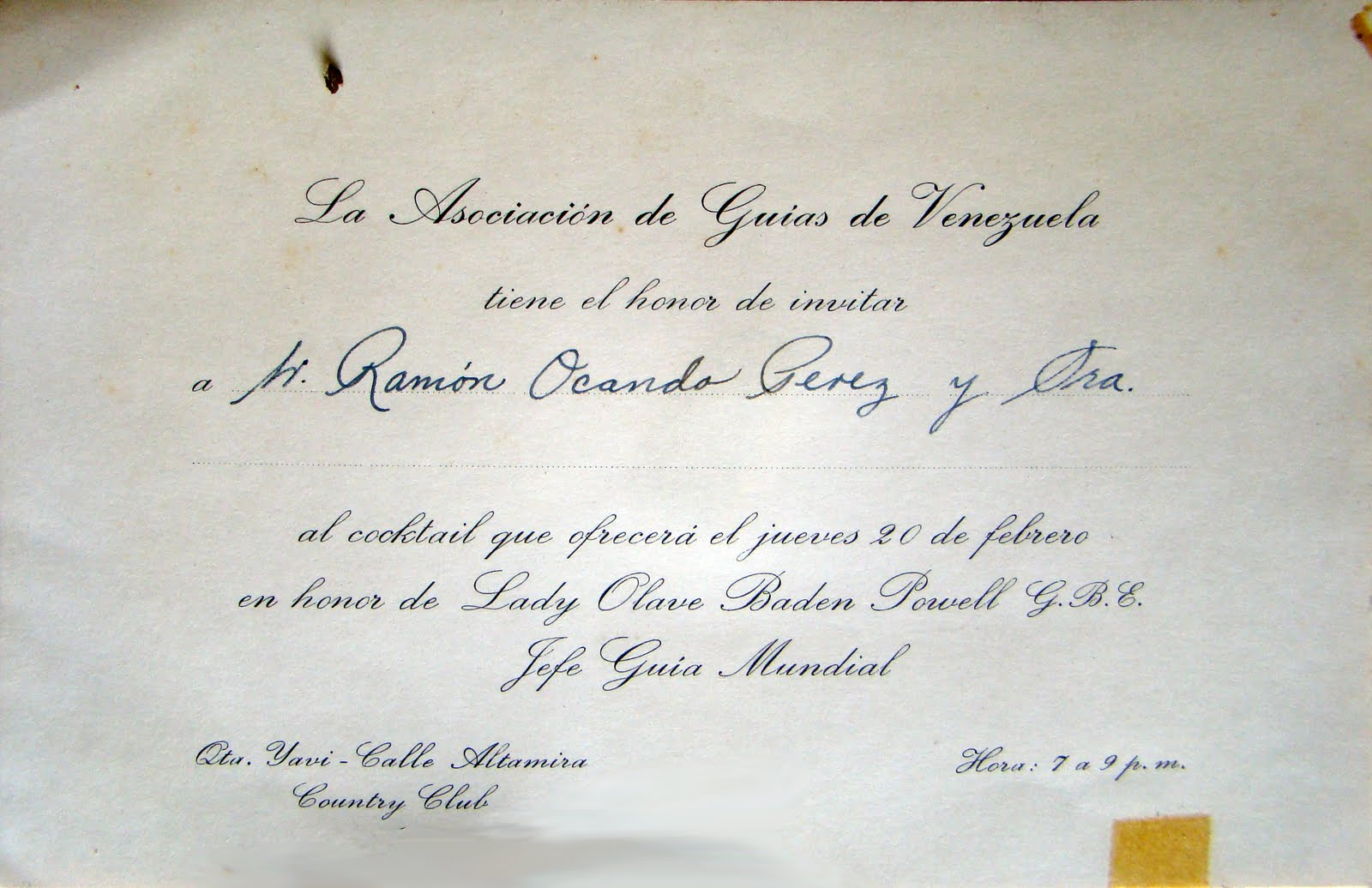 Museo Virtual Scouts Venezuela Tarjeta De Invitación Para