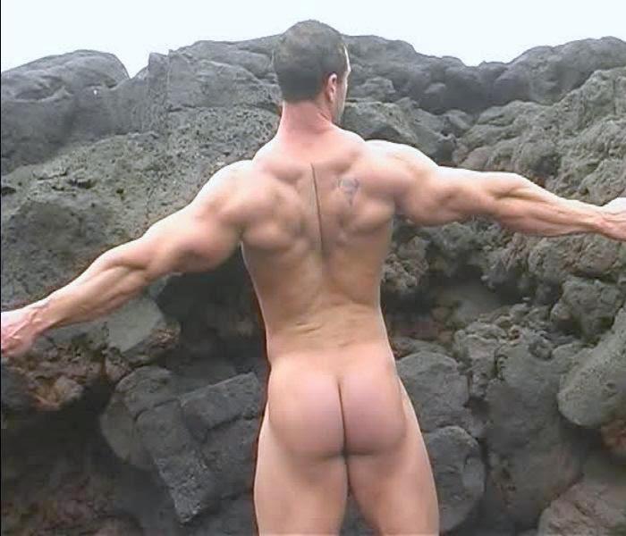 Bodybuilder man naked muscular torso wearing stock photo
