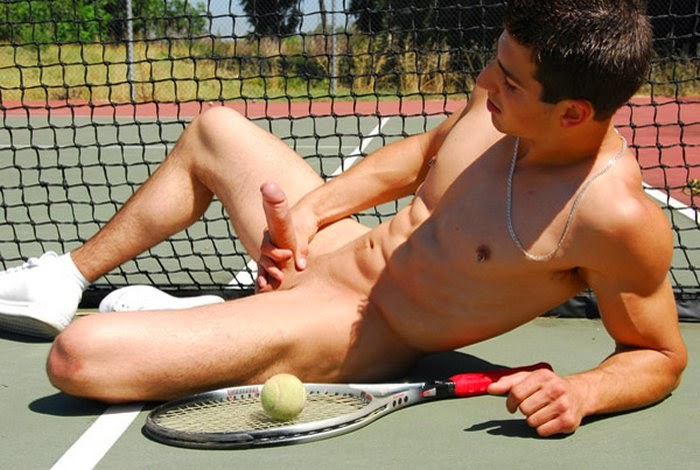 Bulge And Naked Sports Man  Tennis Player Relax-5072
