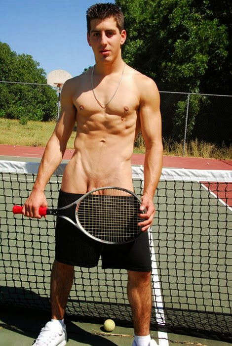 Naked men tennis players