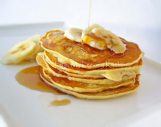 Banana Pikelets with Maple syrup