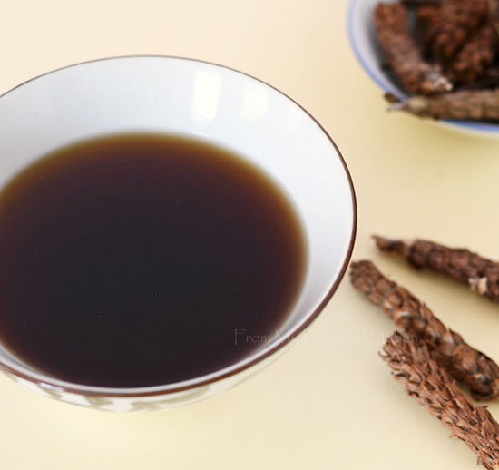 The traditional Chinese herbal medicinal tea.