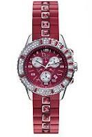 El reloj joya Dior Christal rojo en plata y joyas