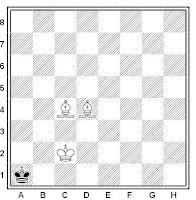 Posición final en el tablero de ajedrez del mate con dos alfiles
