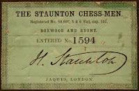 Certificado de juego de ajedrez Stauton con la firma del ajedrecista inglés Howard Staunton