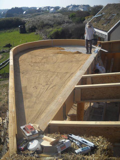 maison paille embruns d 39 herbe mise en pente du toit plat. Black Bedroom Furniture Sets. Home Design Ideas