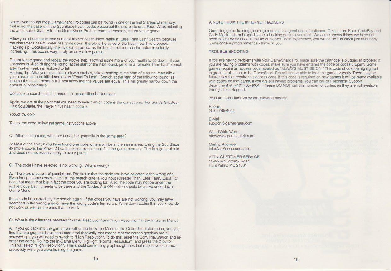 Gameshark Pro Instruction manual