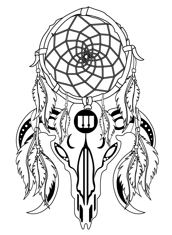 Wolf dream catcher coloring page coloring pages for Dreamcatcher tattoo template