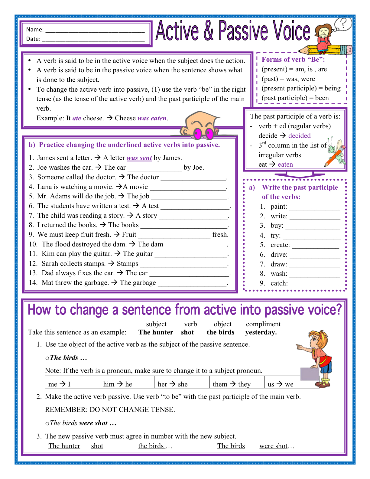 Worksheet Active And Passive Voice Worksheet Grass Fedjp