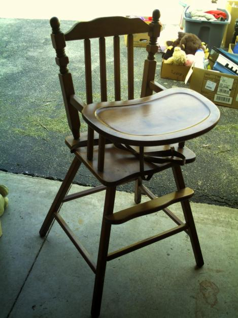vintage wood high chair dining room back chairs drab to fab revamp after