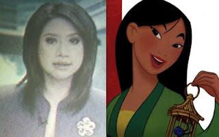 Cheryl Tanzil (Metro TV) dan Fa Mulan (Mulan)