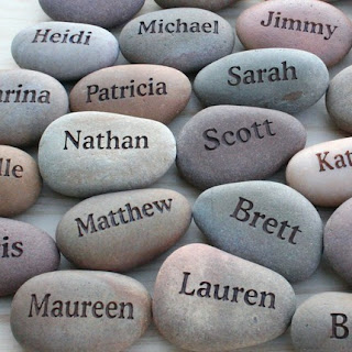engraved pebble favors