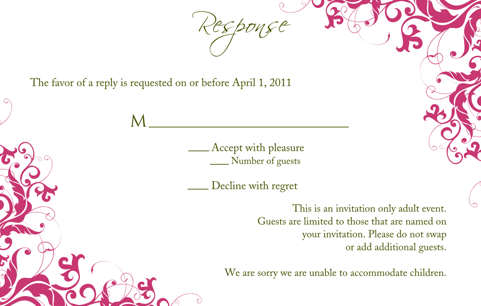 rsvp cards for weddings templates - wedding invitation wording wedding invitation and rsvp