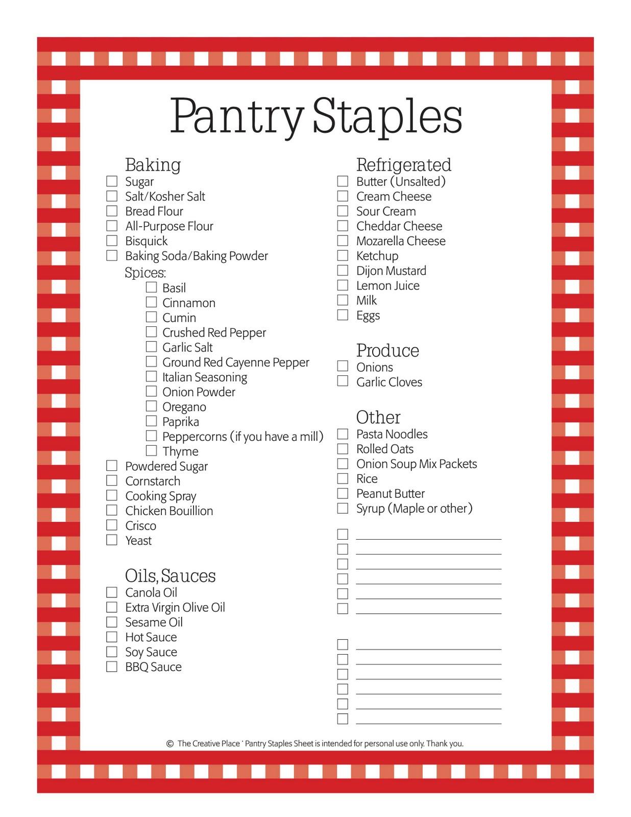 Simplicity image regarding pantry staples list printable