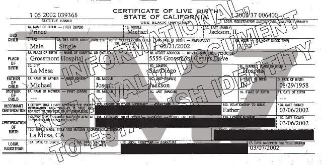 jackson michael blanket death hoax mj certificate john birth testamento mcclain branca gestire denunciano falso permette che prince paris