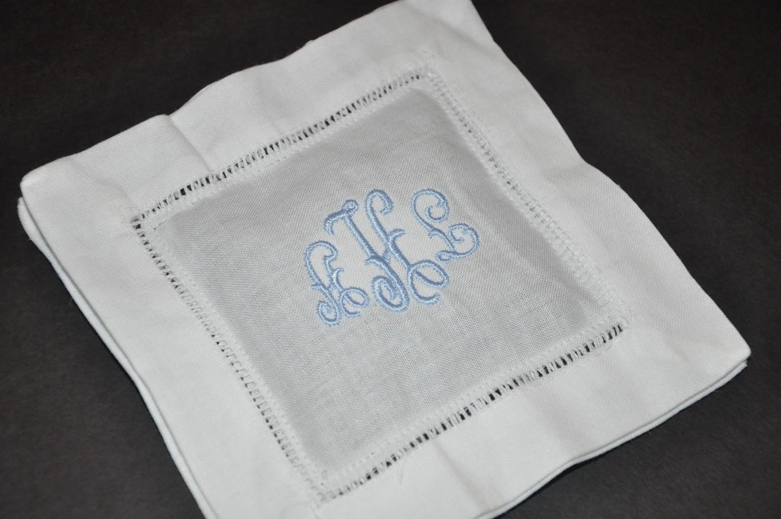 monogrammed cocktail napkins linen