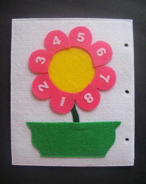 Homemade Quiet Book - Free Templates. Counting Flower Page