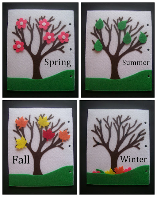 Homemade Quiet Book - Free Templates. Seasons Tree Page