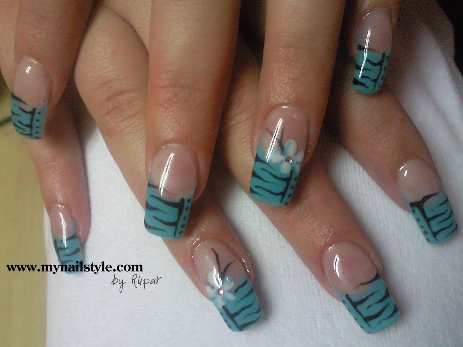 blue flower zebra nail art