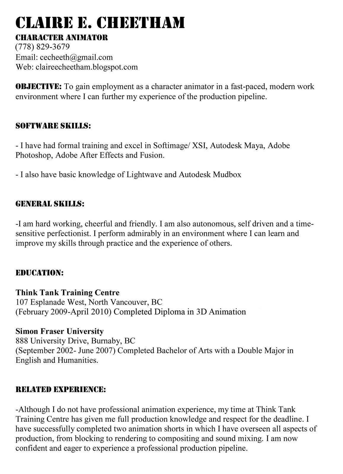 3d Character Animator Sample Resume scenic carpenter sample resume ...