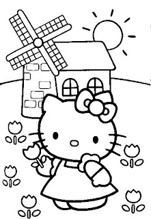 Disegno da colorare di Hello Kitty in campagna
