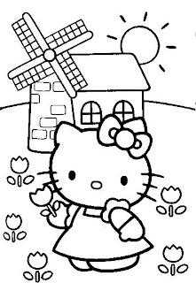Disegno da colorare di Hello Kitty in campagna