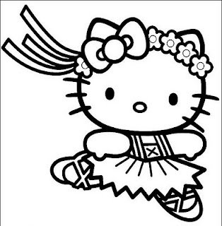 disegni da colorare di Hello Kitty ballerina