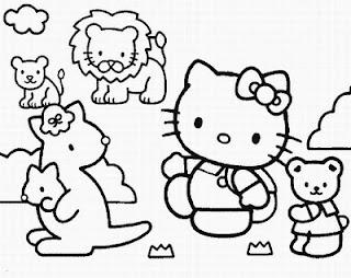 disegno da colorare di Hello Kitty con tanti animaletti