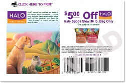 Halo Coupons. Halo dog food is a brand of food that's made by Halo Pets. Halo Pets is a company that has received a lot of publicity in recent years. This is mostly because celebrity (and actress) Ellen DeGeneres became the co-owner of Halo Pets, and began actively marketing their products.