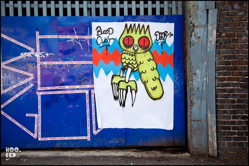 London Street Art paste-up by artist Dscreet, on Brick Lane, London. Photo ©Hookedblog