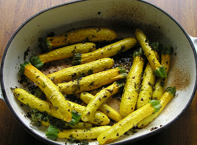 Roasted Baby Yellow Zucchini (Courgettes)