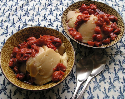 Maple Pudding with Canned Sour Cherries
