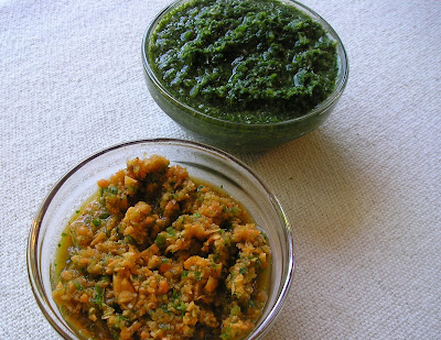 Green Mint and Cilantro Chutney, and Carrot Chutney