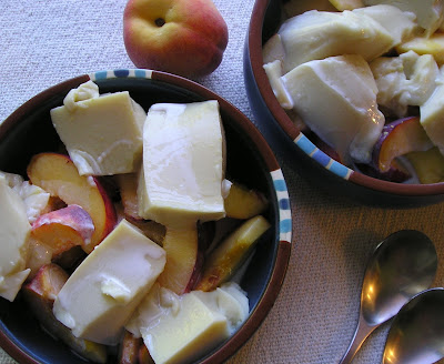 Almond Jelly with Peaches and Cream
