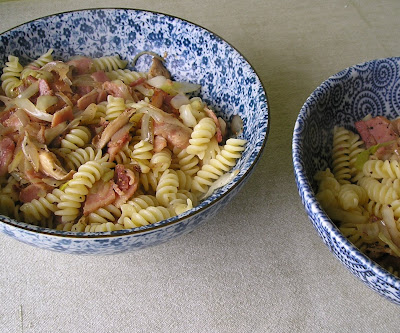 Pasta with Bacon Shallots Shiitakes and Cabbage