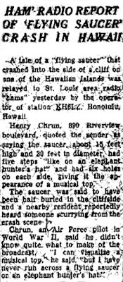 Ham Radio report of Flying Saucer Crash in Hawaii - Post Dispatch - 4-30-1950 (Crpd)