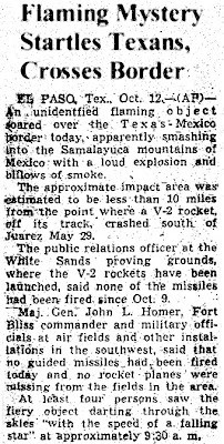 Flaming Mystery Startles Texans, Crosses Border - AP- 10-12-1947  (Crpd)